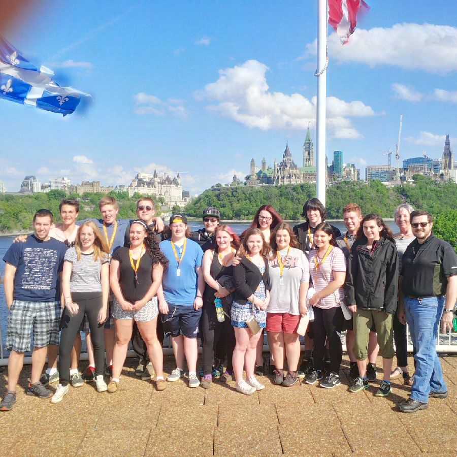 Class picture looking back across the river at Parliament Hill