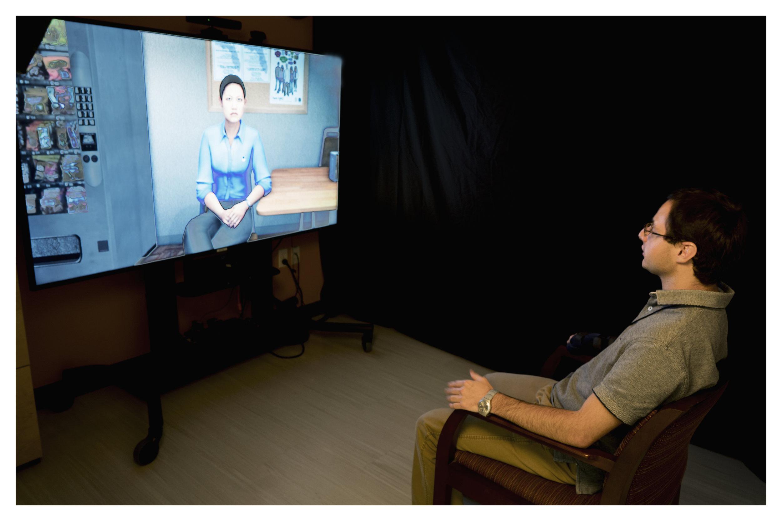 Eric using VITA DMF virtual job interviewing software.