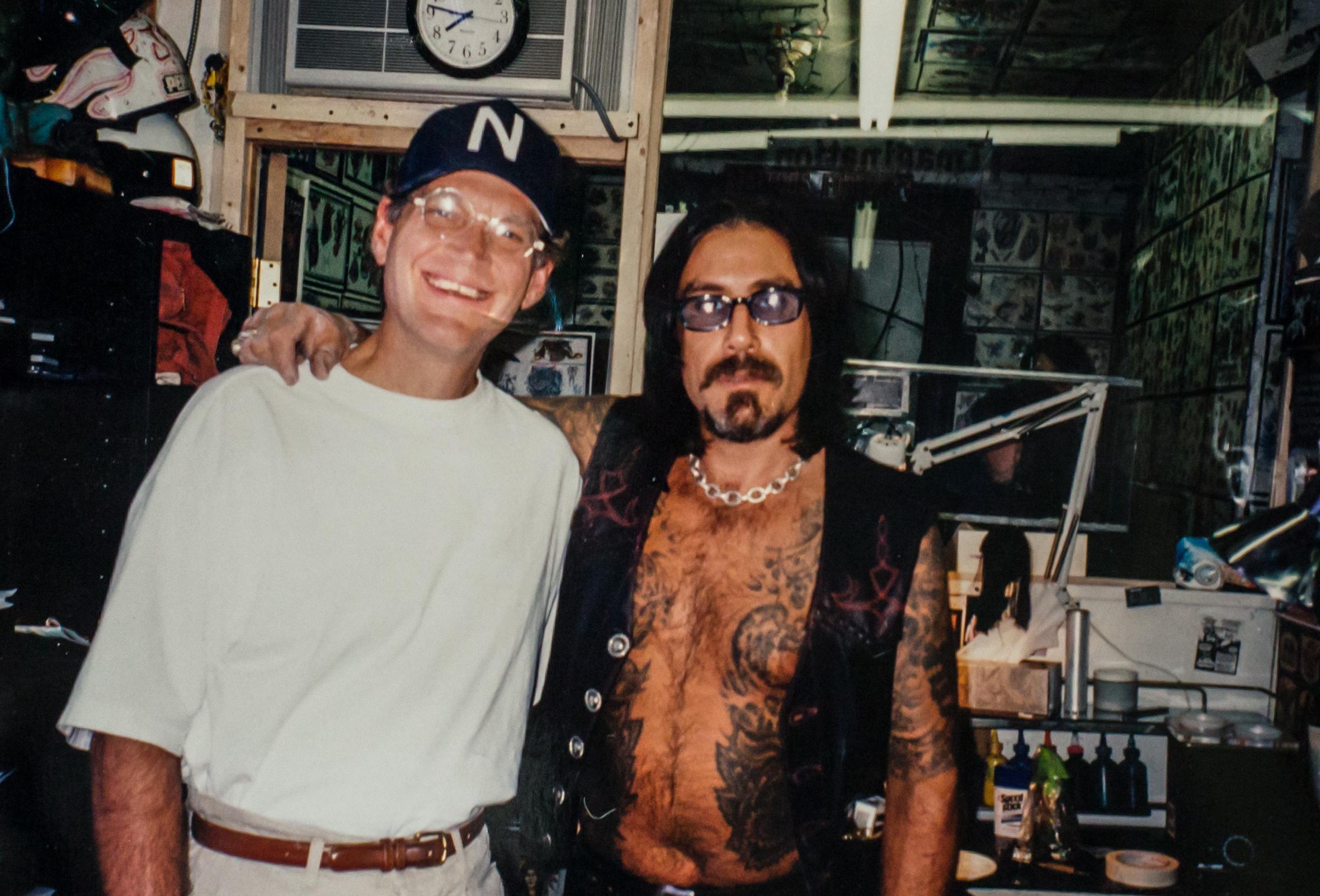With david letterman @ funcity tattoo nyc, circa 1990