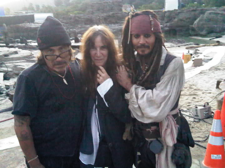 with patti smith and johnny depp during the shooting of  pirates of the caribbean