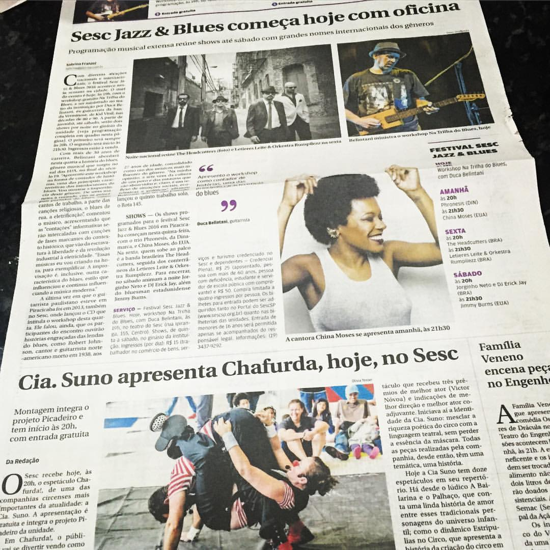 In the paper! @sescpiracicaba (But what is going on in that bottom picture 😳 as @marijusaleksa noticed) #piracicaba #saopaulo #singerontheroad  (at Piracicaba, Brazil)