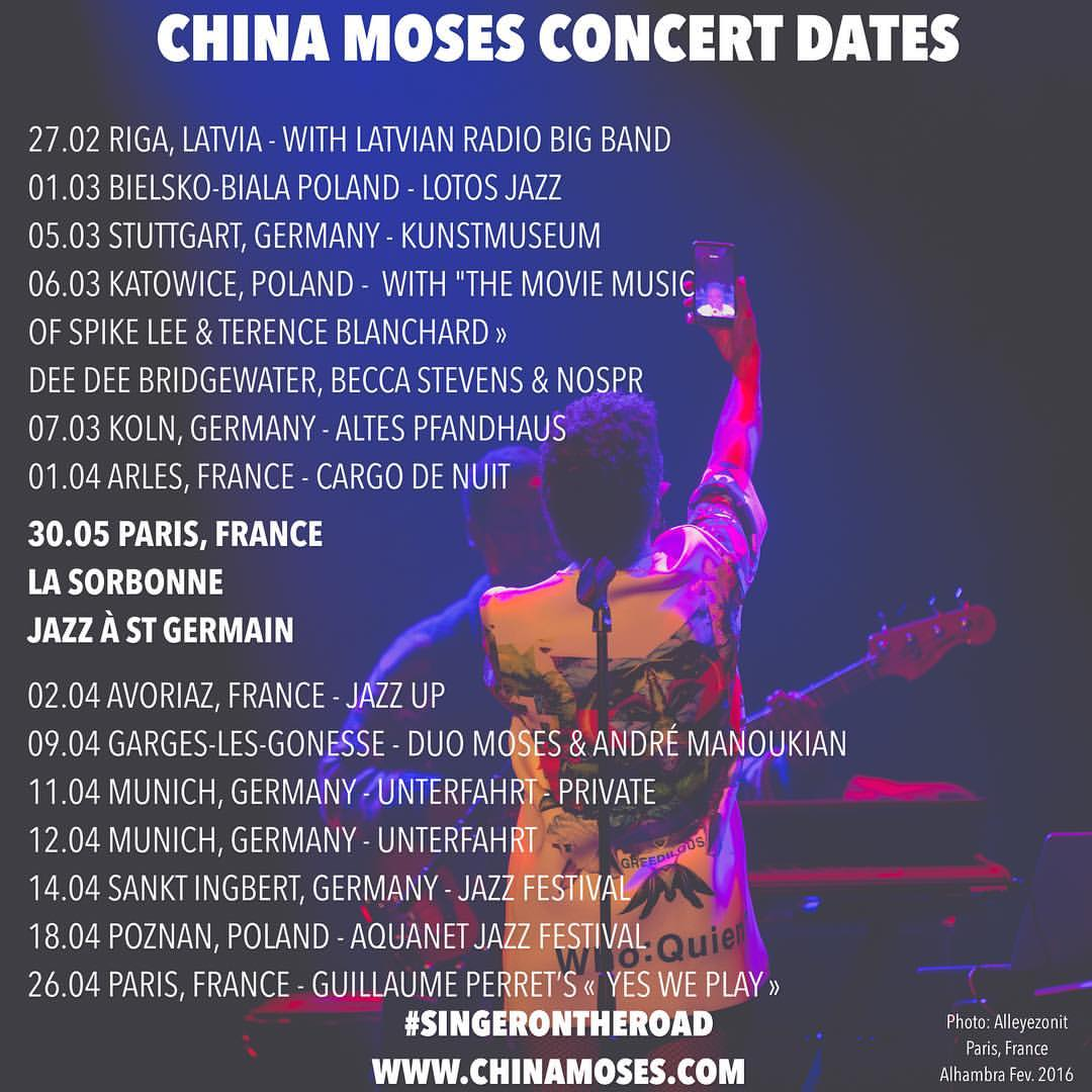 Upcoming concert dates #singerontheroad Tickets:  http://goo.gl/8hz23I   www.chinamoses.com  🖖🏾🎤❤️