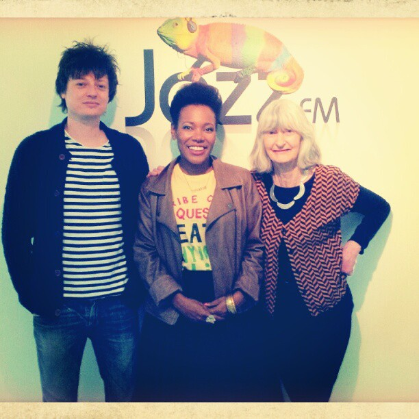 @jazzfm with the wonderful #SarahWard and Dominic. Just finished doing an interview for her #jazztravels show. #crazyblues #deccauk