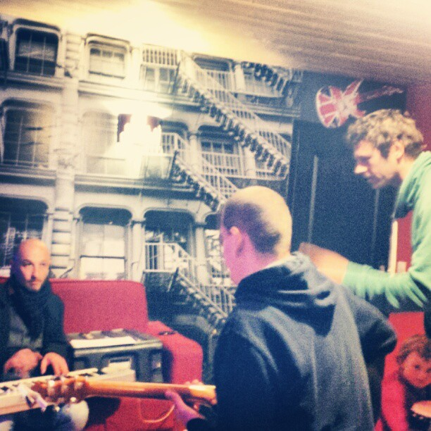 Rehearsing with my rock band. What d' you know about that huh?