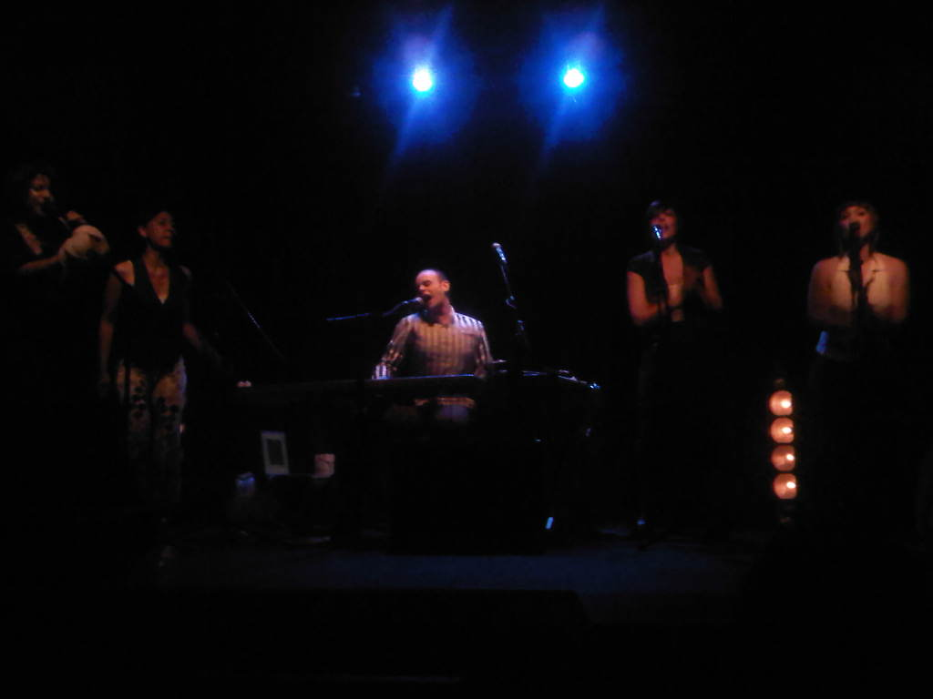 @MajiKer on stage with his female vocal army. This man is Body-Piano-Machine. Alternative pop dopeness.