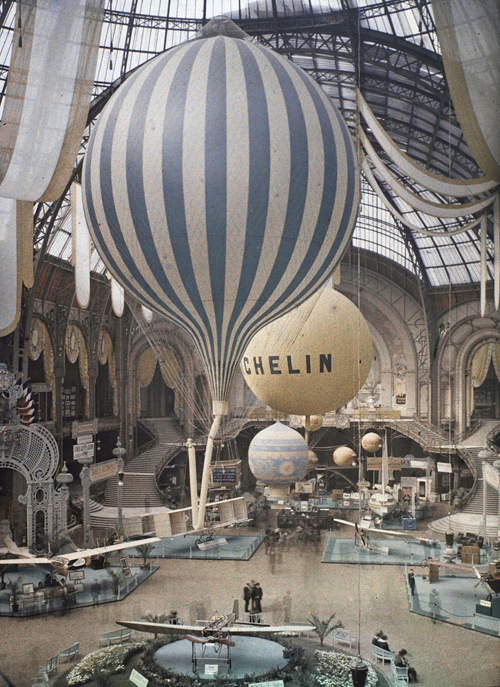 Just an amazing picture    reginasworld :     The first air show at the Grand Palais in Paris, France. September 30th, 1909. Photographed in  Autochrome Lumière  by Léon Gimpel.