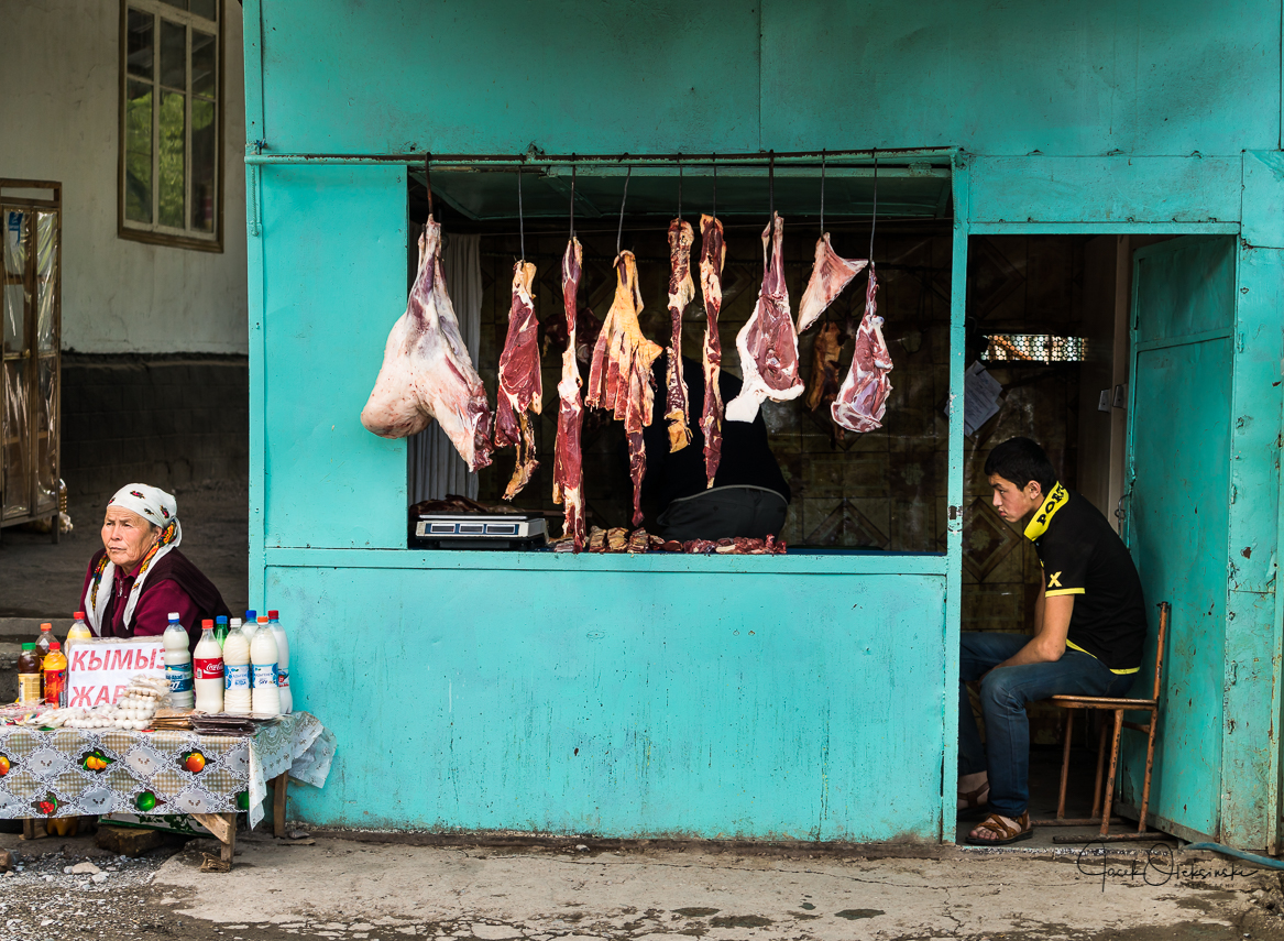 The local butcher shop in Arslanbob
