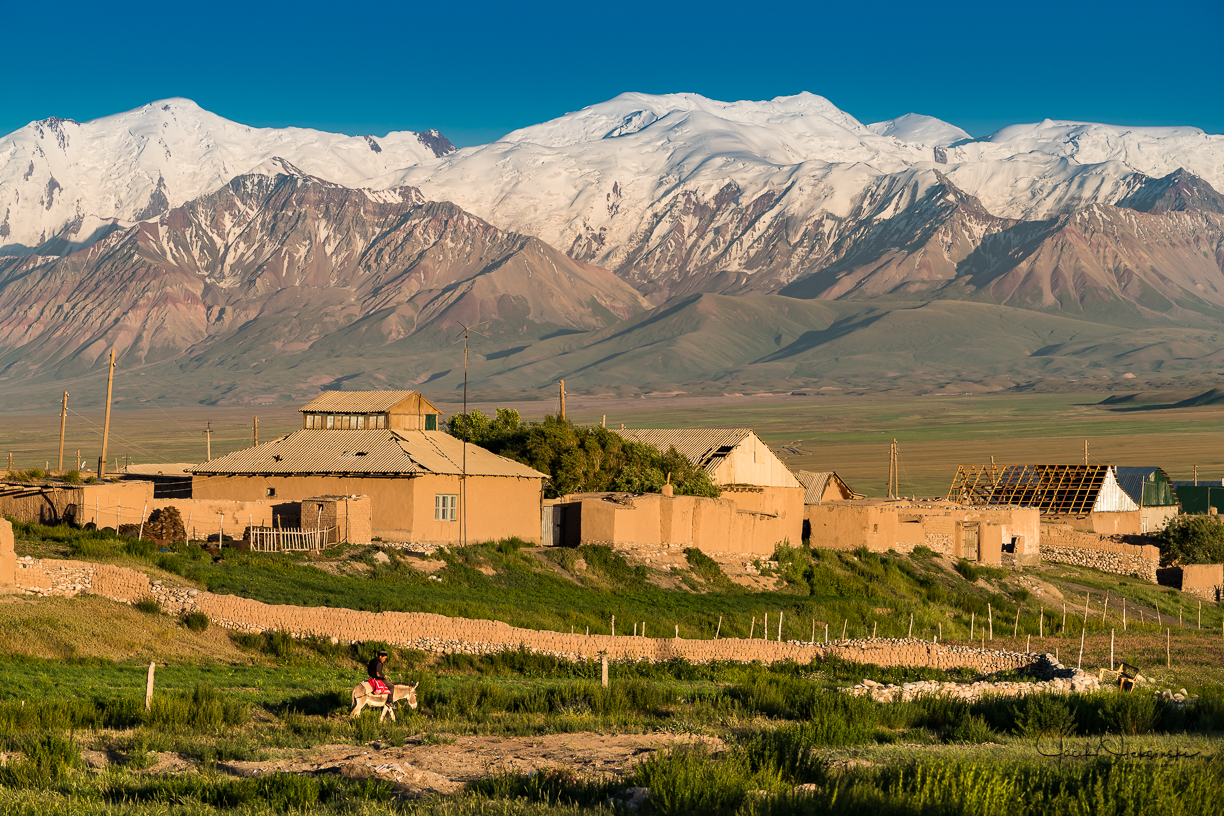Sary mogul village with the Pamir mountains in the background