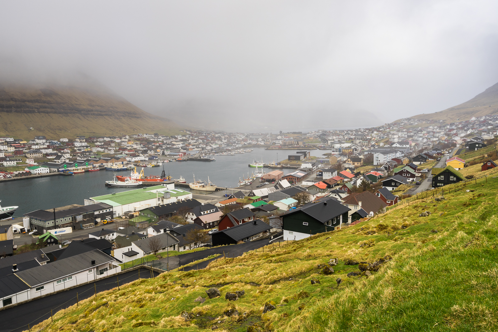 Klaksvik from above. Foggy and rainy, still very beautiful