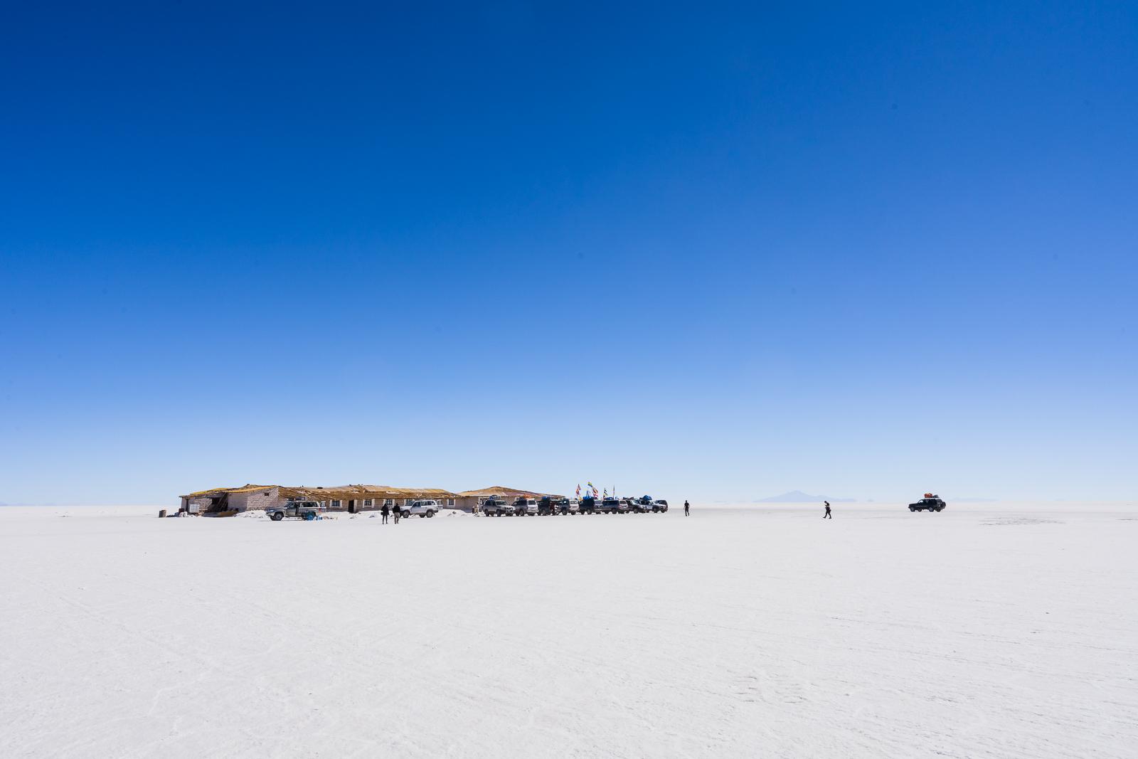 The salt hotel seen from a distance