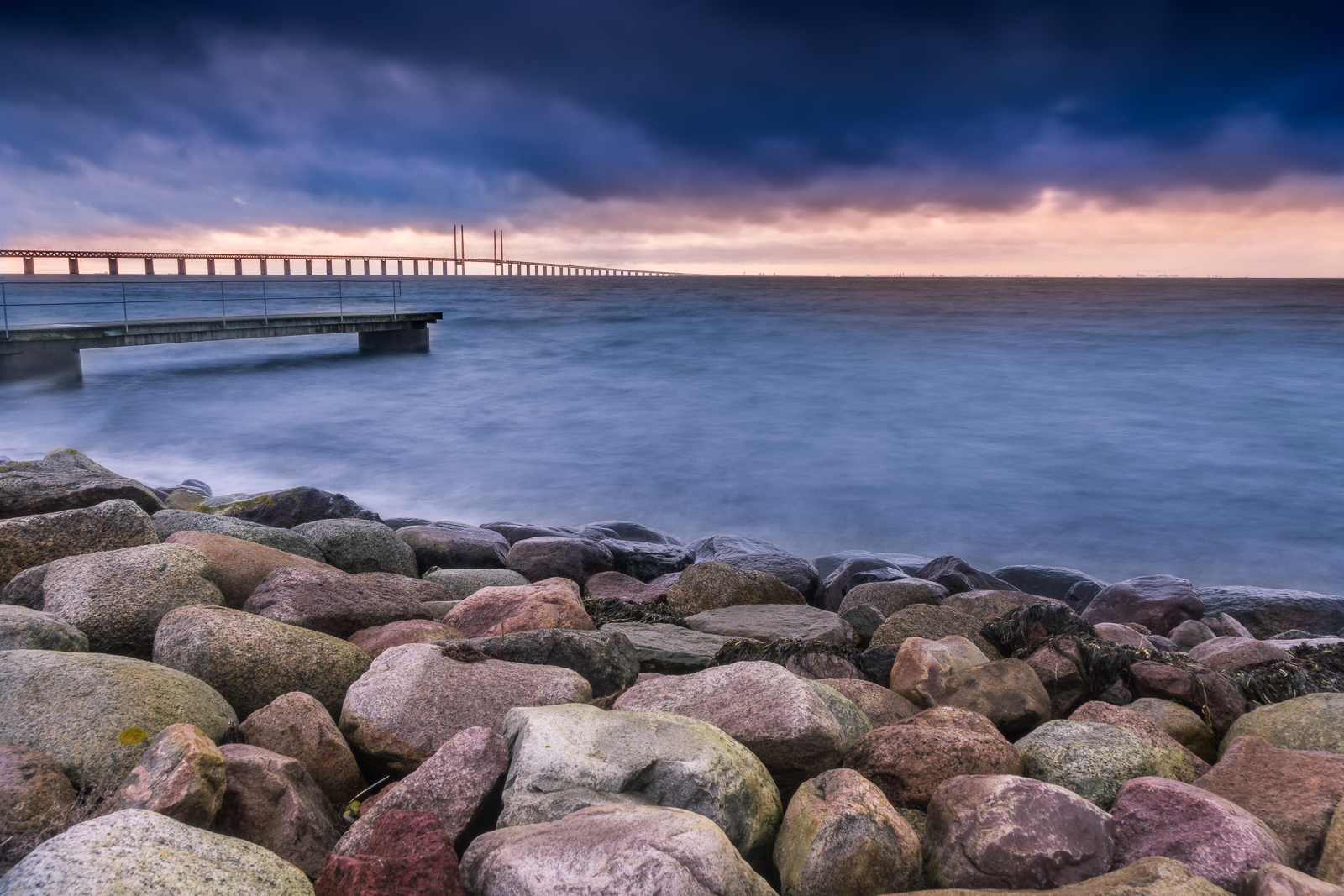 The Öresund bridge in the background with the batching pier in the foreground
