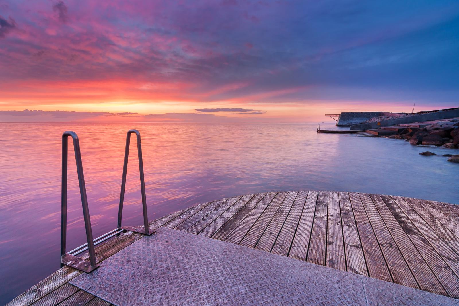Beautiful sunset at the boardwalk