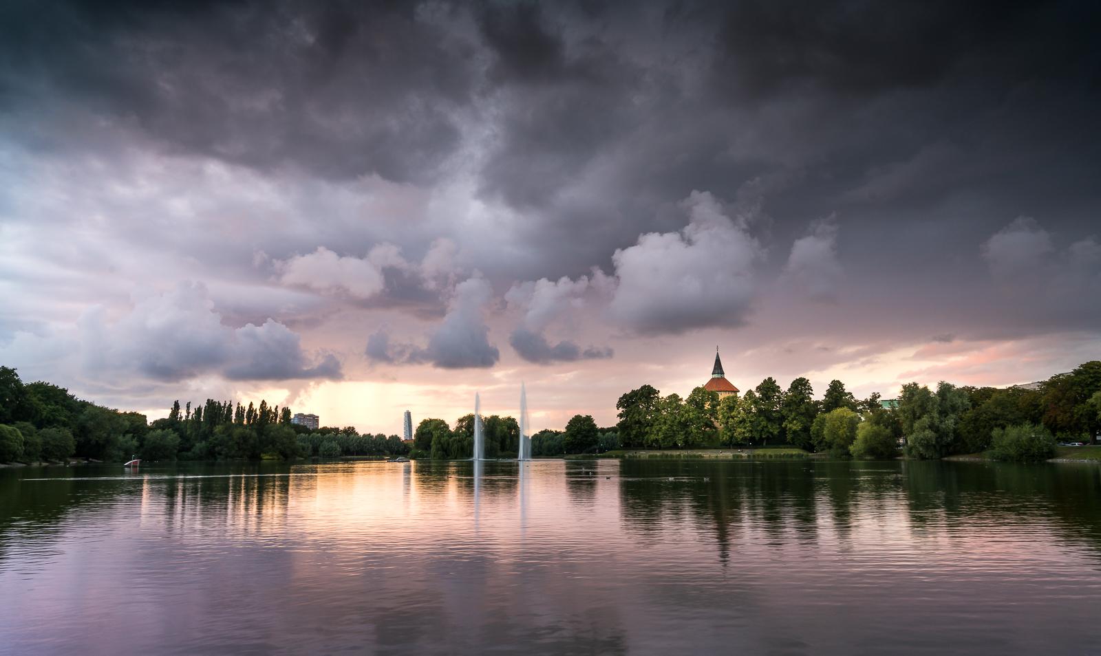 Pildammsparken during sunset and stormy summer weather