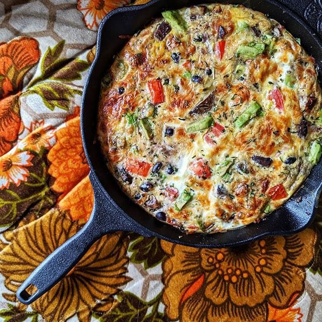• Made my first frittata for at home brunching • Feist radio playing • Wes Anderson movie on • Wedding photo editing in progress • Mismatched living room decor because we just moved in • Sunlight streaming in through the window • Faint sounds of bird singing outside  Life and home decor aren't perfect right now. But I'm still a really big fan of this morning. Simple joys. • Frittata consists of whatever random items I had on hand. A few eggs borrowed from a roommate, avocado, tomatoes, mushrooms, black beans, sweet potato, spices and such.