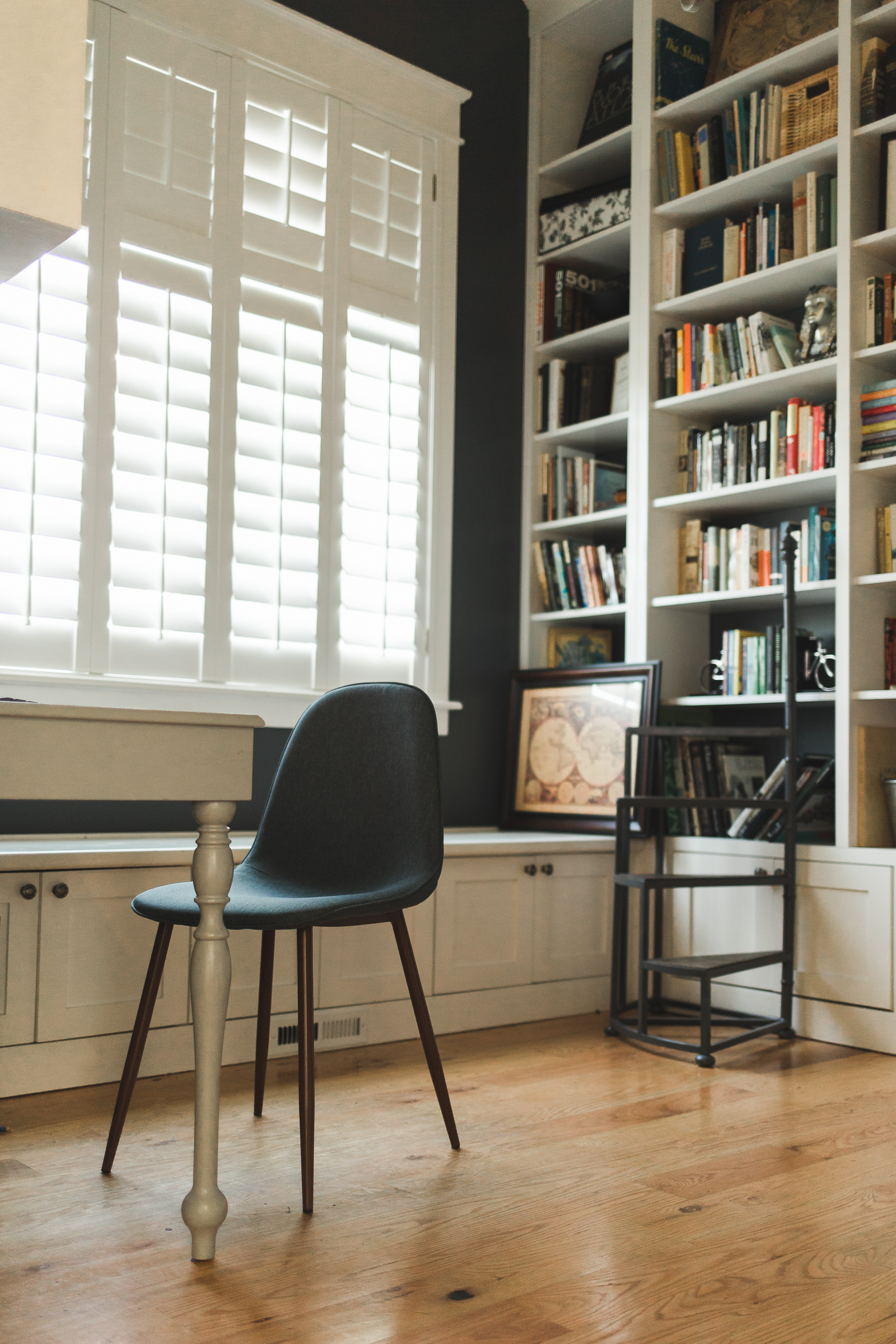 My office/library is where I spend a LOT of my time during the day, especially when I'm editing. It's my favorite room in the house (closely followed by my bedroom), and I wanted to show its inviting beauty.