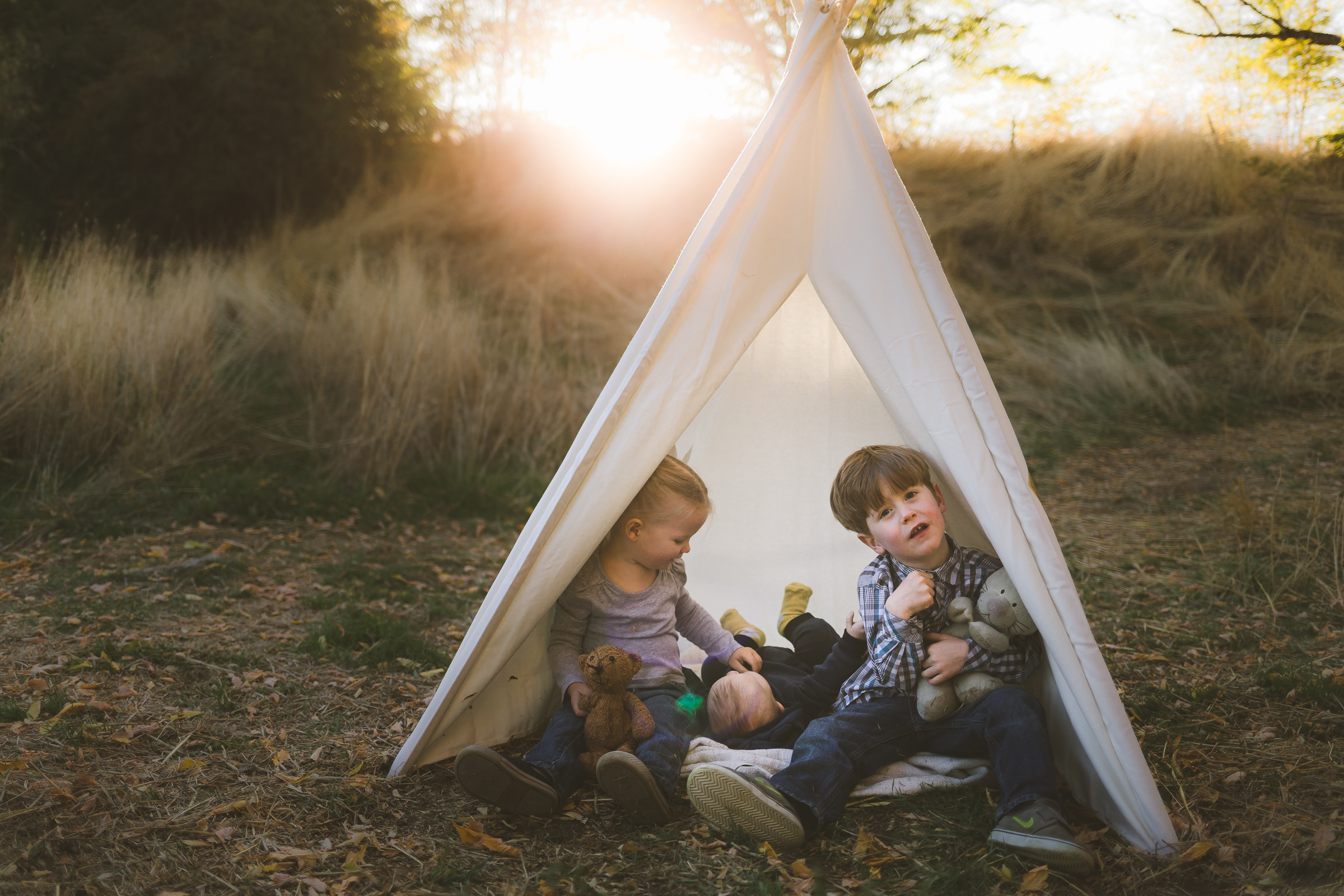 Fall golden hour sunset ~ family, brother, sister, baby {Utah County Photographer}