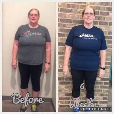 Lisa reached the largest goal of losing 16 lbs in 6 weeks! After the challenge, she noticed she has more energy, more mobility, and has more self esteem. She loves her new life of guilt free living with healthy food choices and the support of her team (the studio)!      *Results may vary person to person*