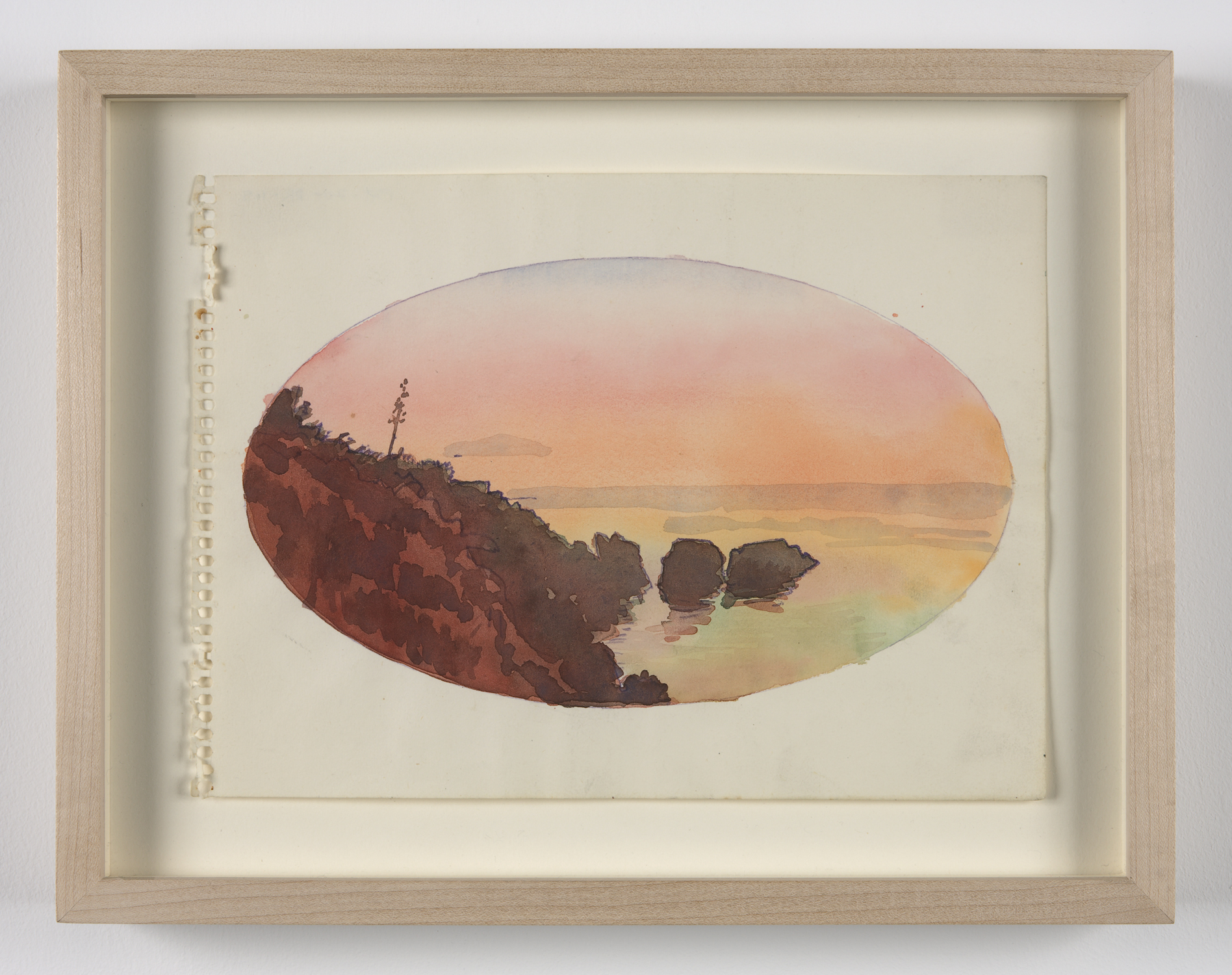 Untitled  (oval landscape) ca. 1970 watercolor and colored pencil on paper 7 x 91⁄2 in/18 x 24 cm Photo: Joerg Lohse ©Estate of George Paul Thek, Courtesy Alexander and Bonin, New York