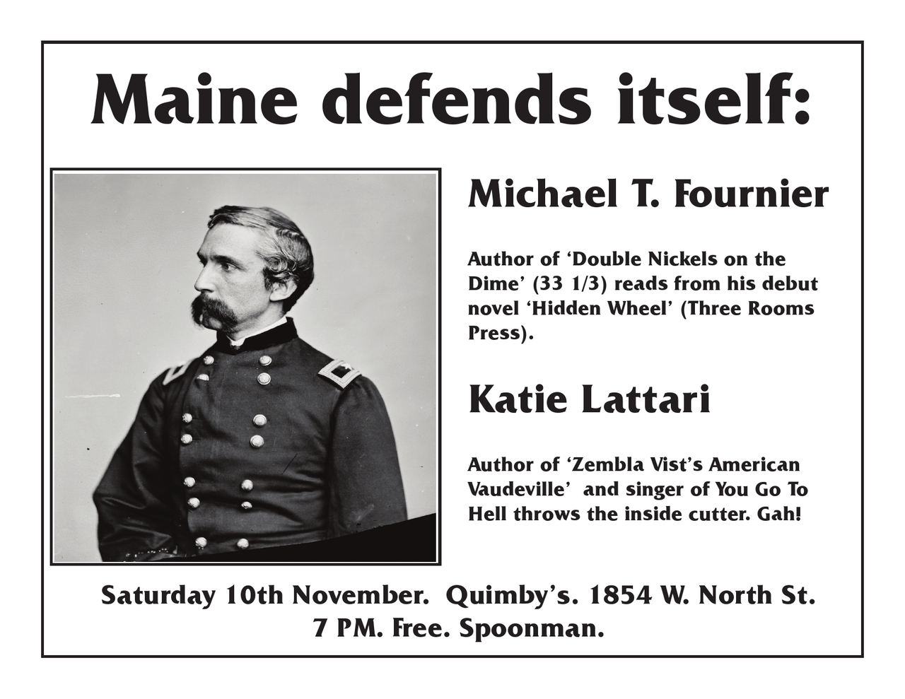 A flyer for Katie Lattari and me in Chicago 11/10.