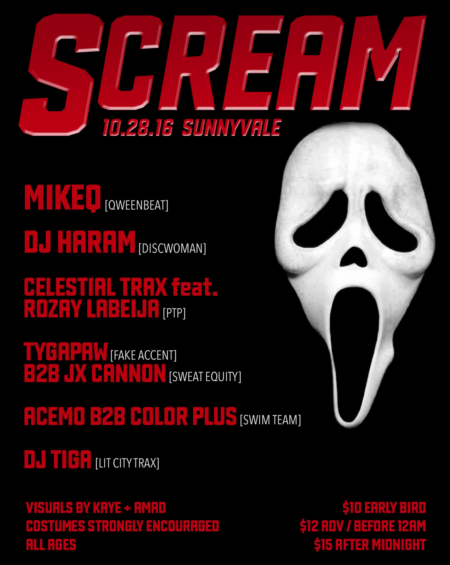 Brief - SCREAM was a Halloween party on October 28 at Sunnyvale. Its diverse lineup featured some of New York's finest underground acts: MikeQ (Qweenbeat), DJ Haram (Discwoman), Celestial Trax + Rozay Labeija (PTP), JX Cannon (Sweat Equity), Tygapaw (Fake Accent), Acemo B2B Color Plus (Swim Team), and DJ TiGa (Lit City Trax).Aside from the event flyer, I also created promotional videos and stitched together a 30-minute horror-themed visual set. It's silent and meant to be played alongside a DJ set around 130-140 bpm.
