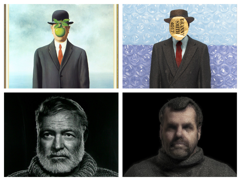 Daniel Warnecke,     Subject to Impression     (2016)    Left row, from top to bottom: Johannes Vermeer,  Girl with a Pearl Earring  (1665); René Magritte,  The Son of Man  (1964); Yousuf Karsh,  Ernest Hemingway  (1957)    Images courtesy of artists