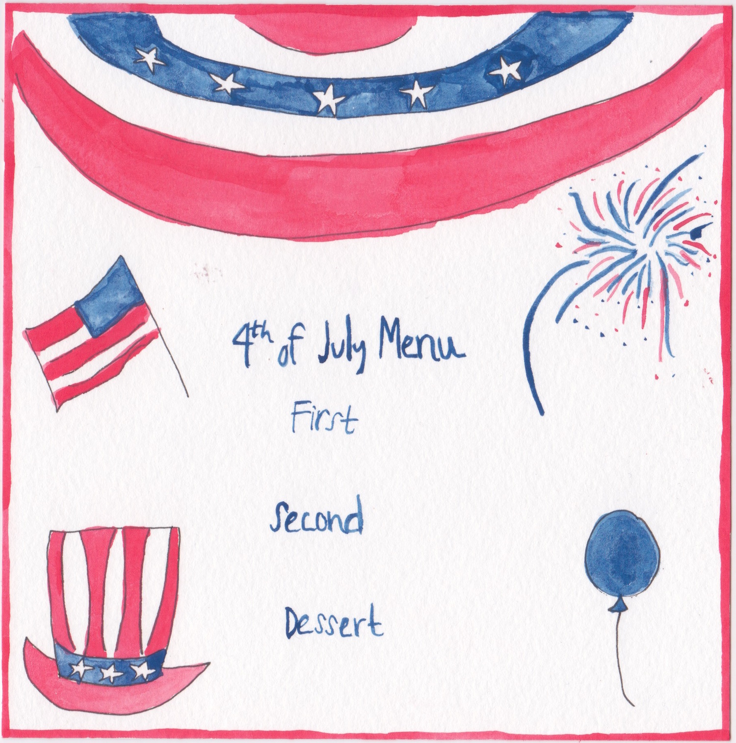4th of July Menu Template, painted by Chefanie