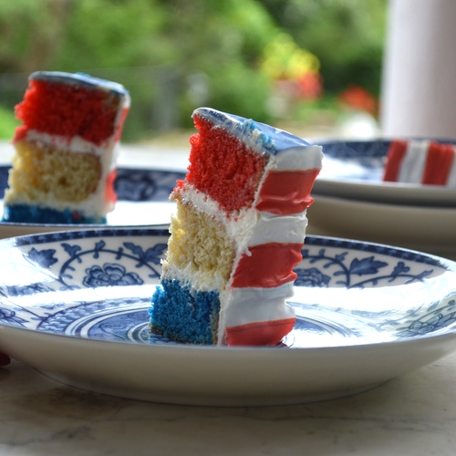 Red, White, and Blue Stripe Cake  with  Flag Chefanie Sheets
