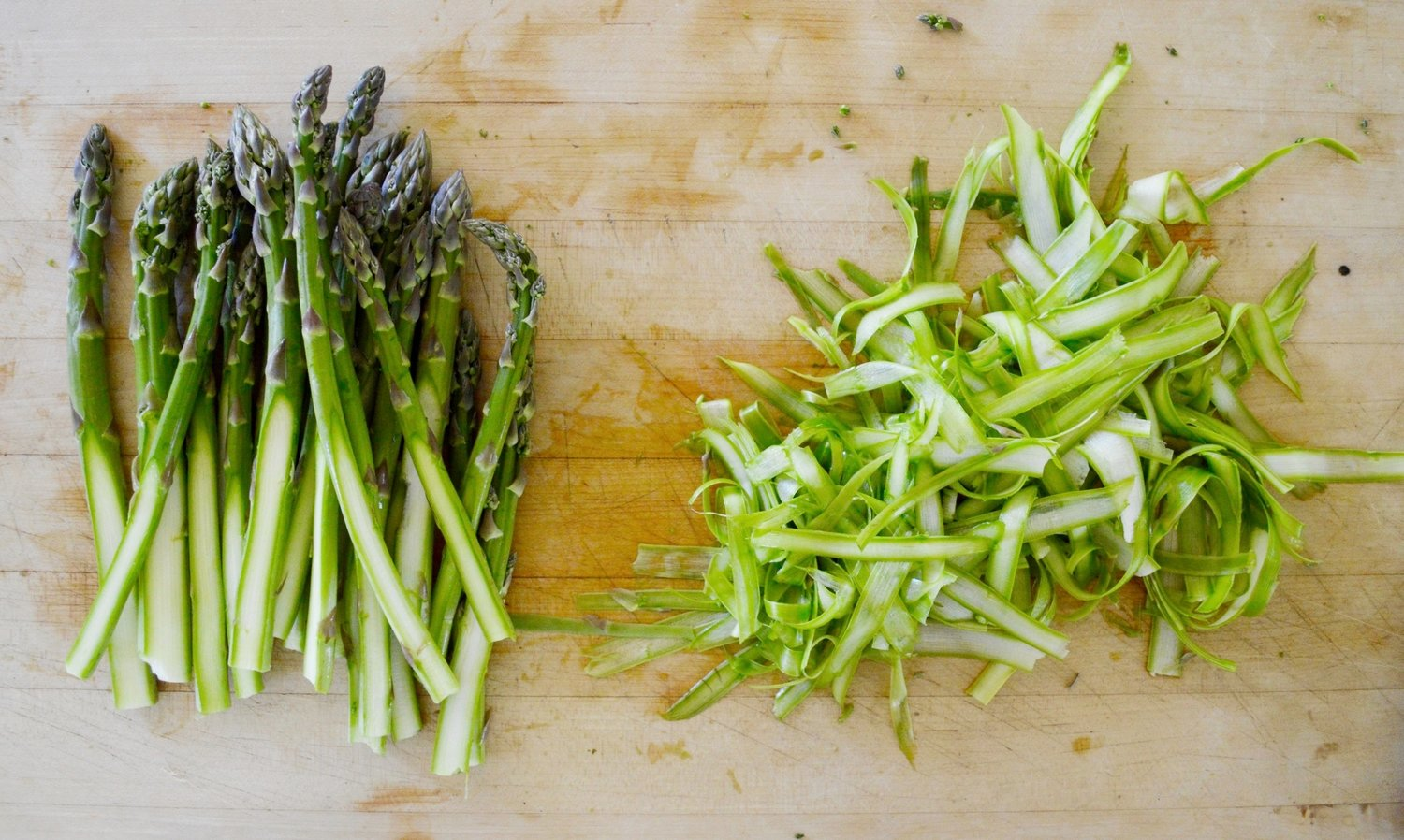 Ribboned asparagus for garnish