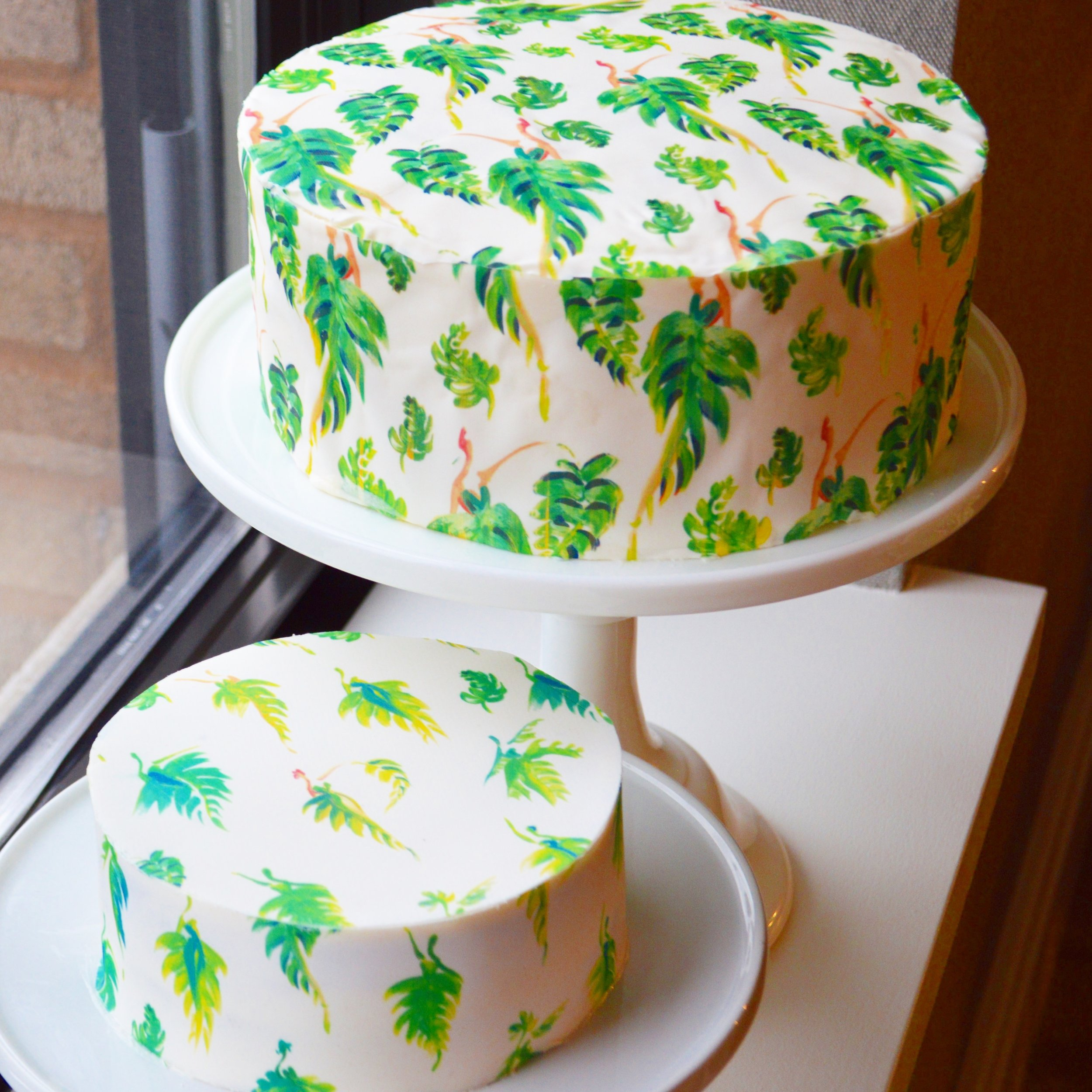 Matcha Cake covered with Palm Leaf Print