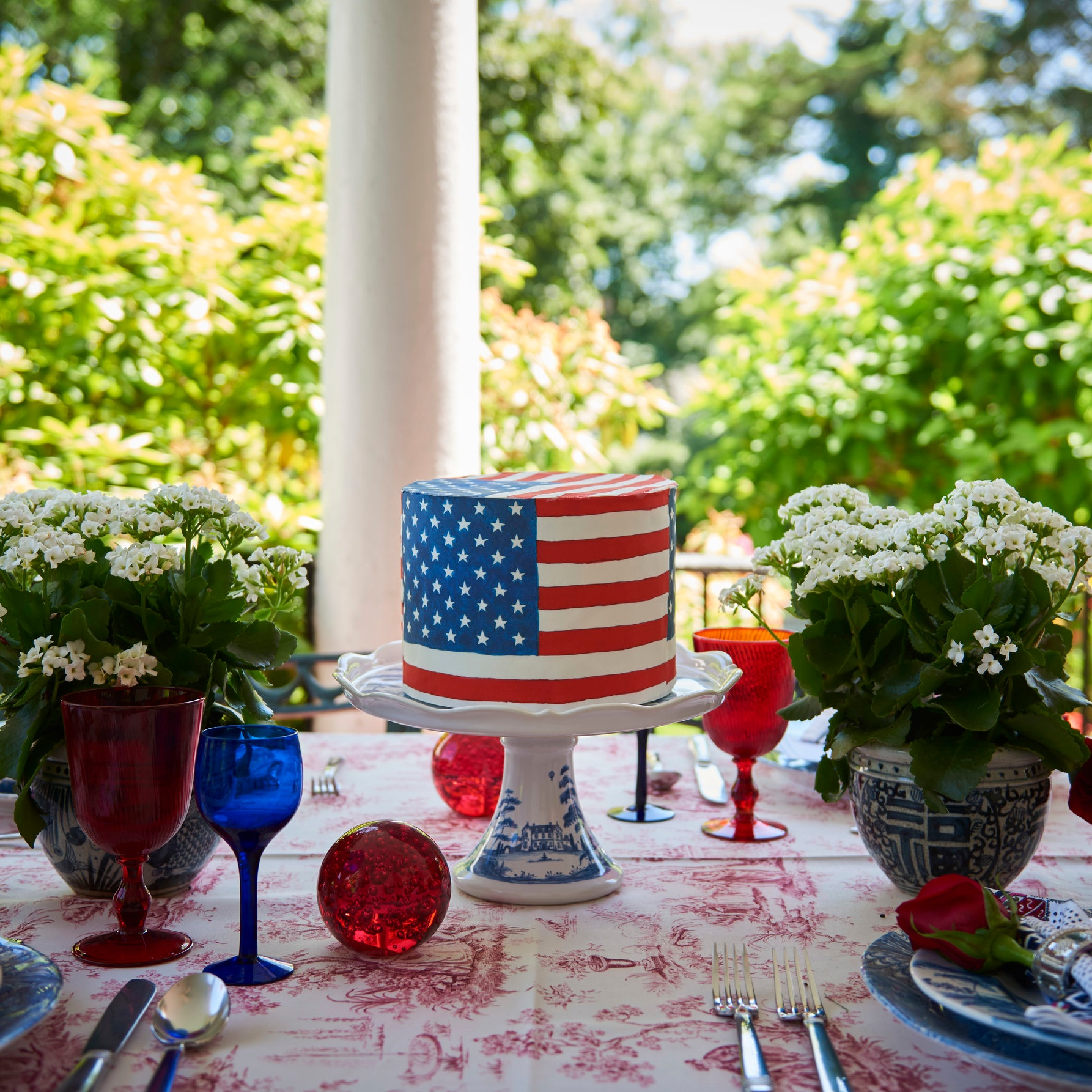 Cake Wrapped in  Flag Chefanie Sheets , over red & white toile tablecloth. Photo Credit: William Jess Laird for The Daily Front Row