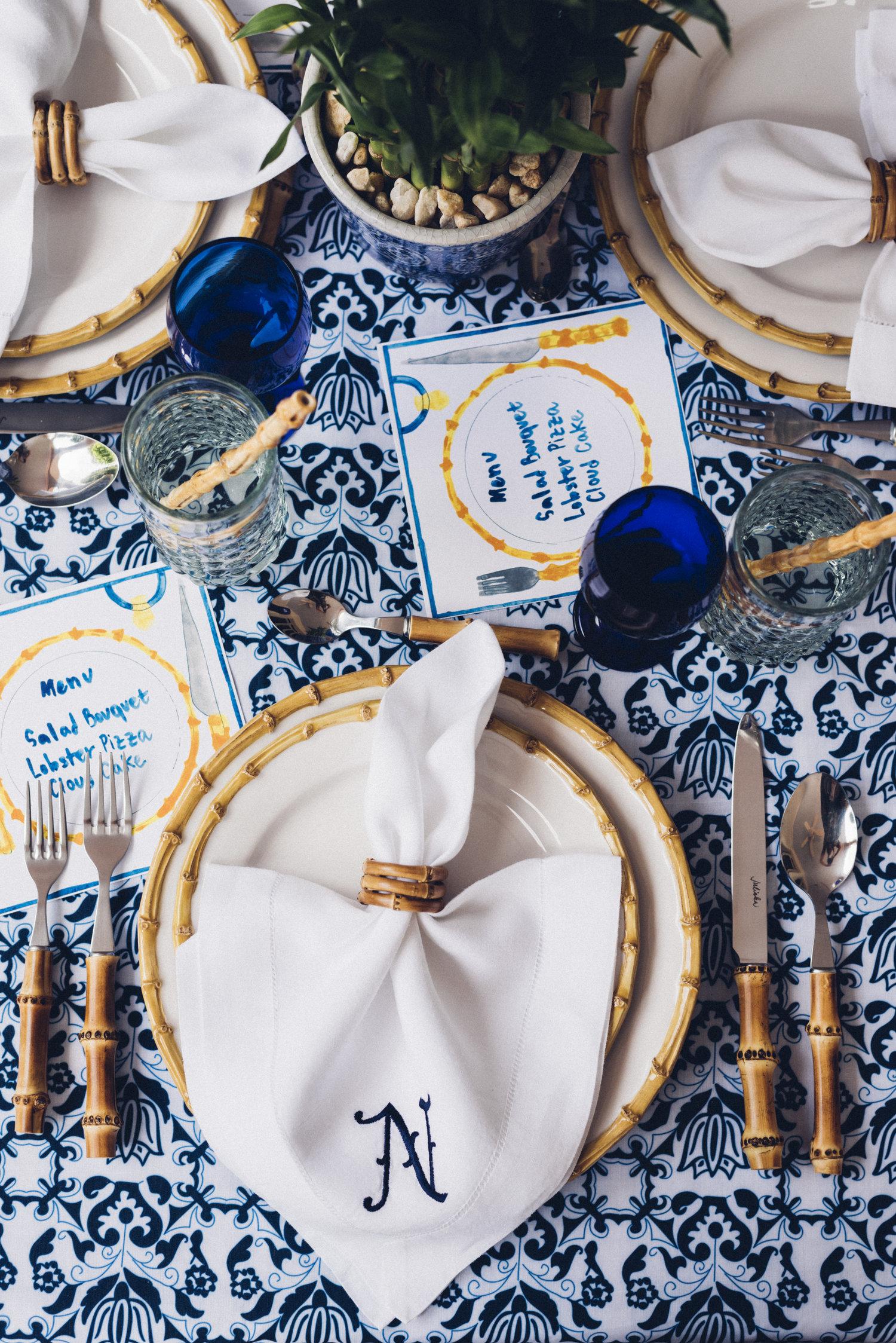 Chefanie's  Bamboo Napkin Rings , Ceramic Bamboo Straws , and  Custom Embroidered Napkin