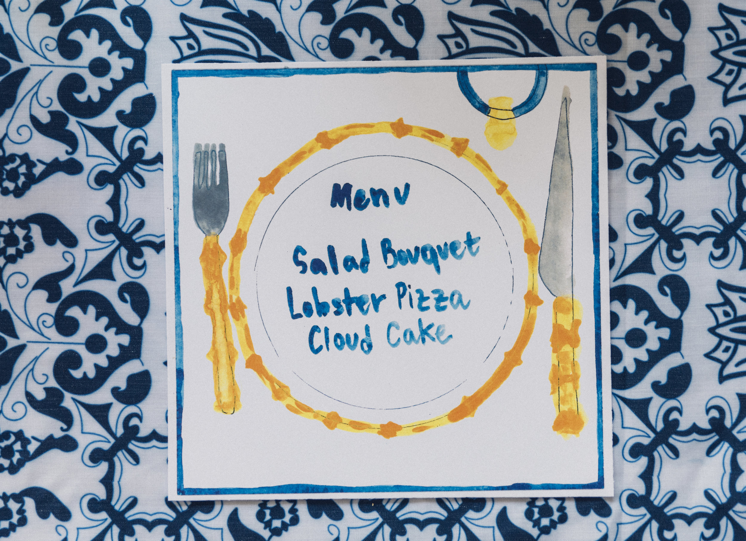 Chefanie's painted bamboo inspired menu