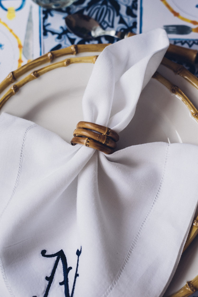 Chefanie  Bamboo Napkin Ring  on  Custom Embroidered Napkin