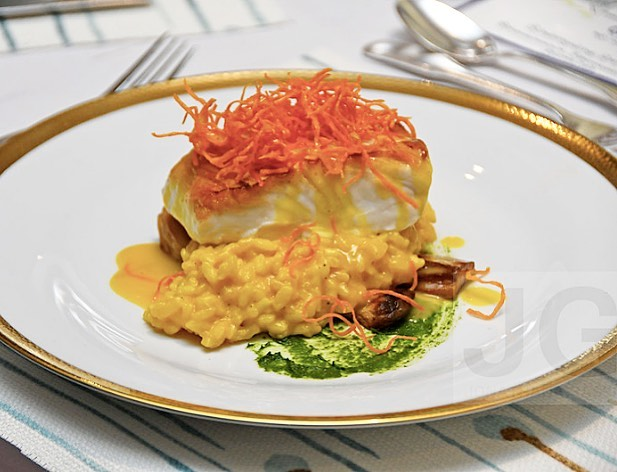 Roasted halibut over risotto with frizzled sweet potatoes 🍴🐟#ChefanieCatering