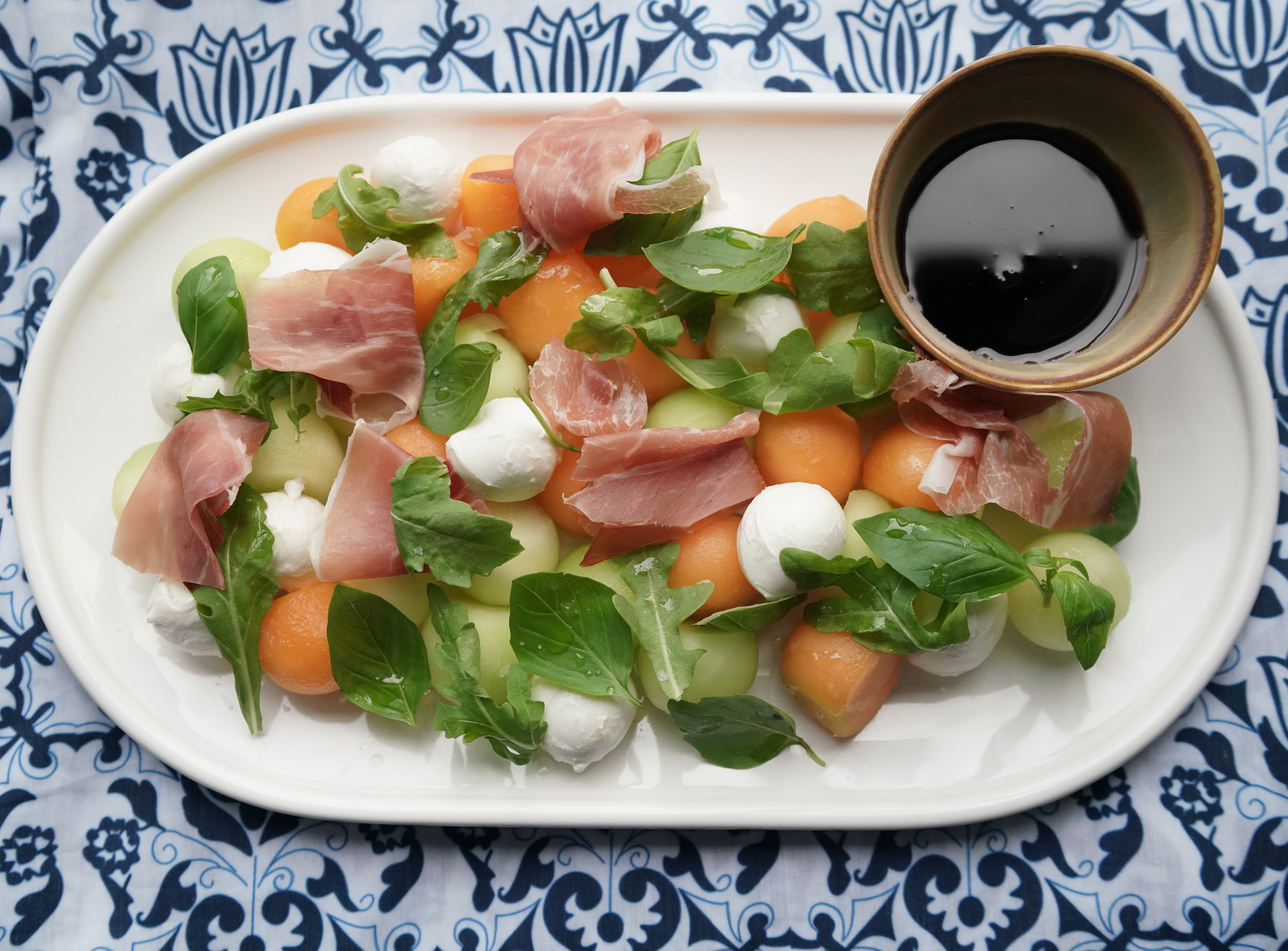Summer Melon Salad  over Chefanie  Blue & White Tablecloth