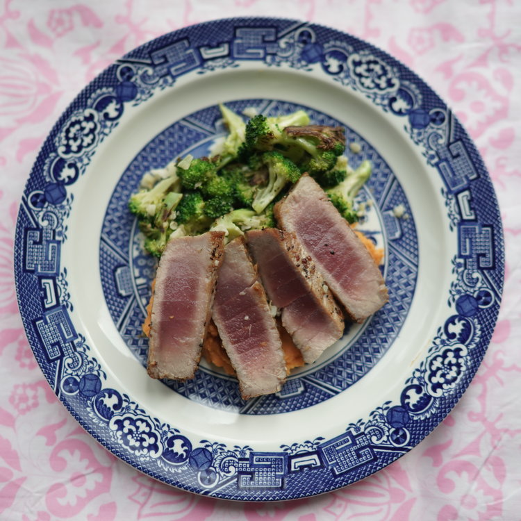 Grilled Tuna  over Chefanie  Pink & White Tablecloth