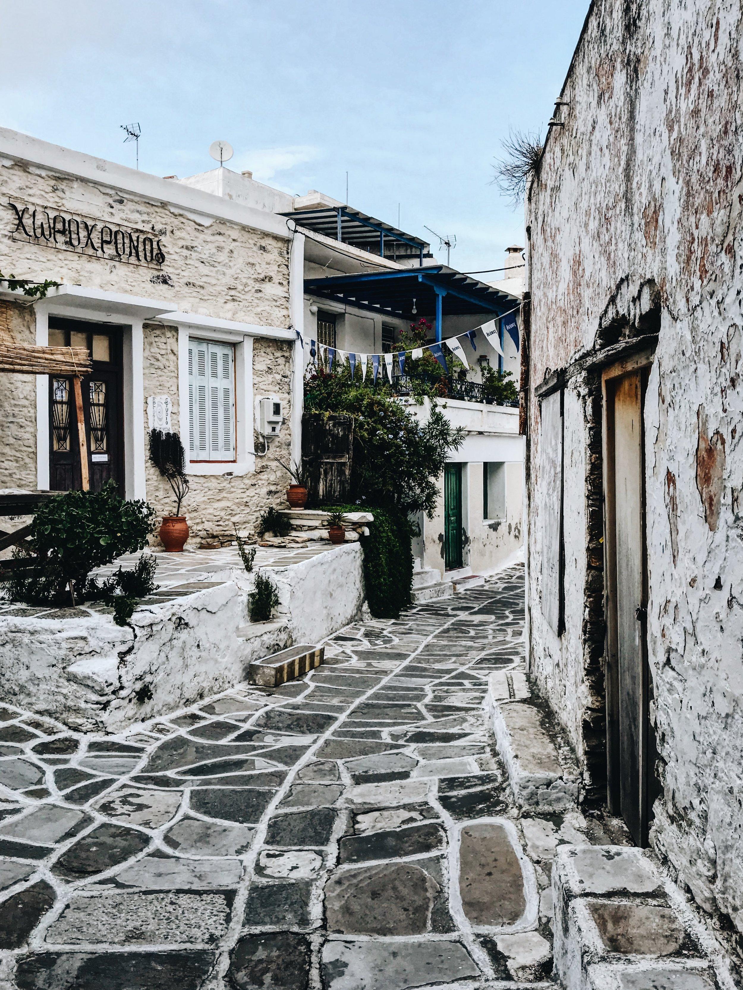 The town of Lefkes on Paros