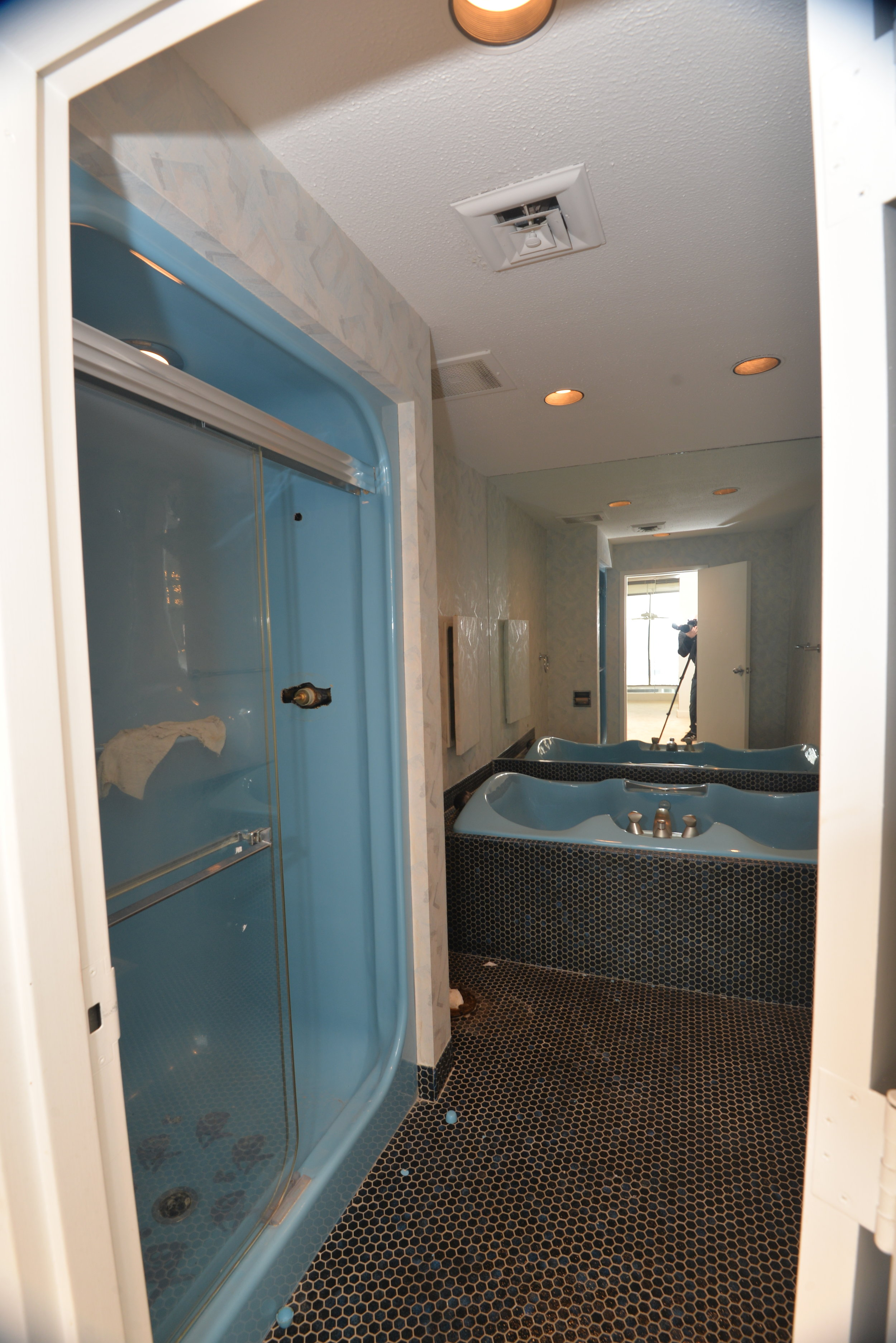 View of the old shower and tub.