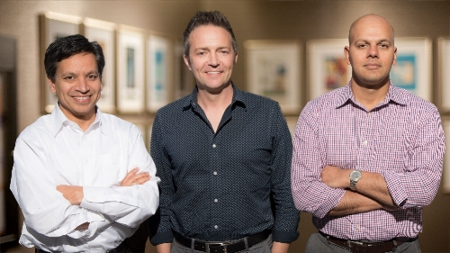 Deepak Srivastava, MD (right), Benoit Bruneau, PhD (middle), and Saptarsi Haldar, MD (left), are studying the basic biology of the heart to guide the discovery of new therapies.