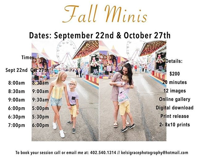 fall minis are here!! If you'd like to book your session today, call or email me!