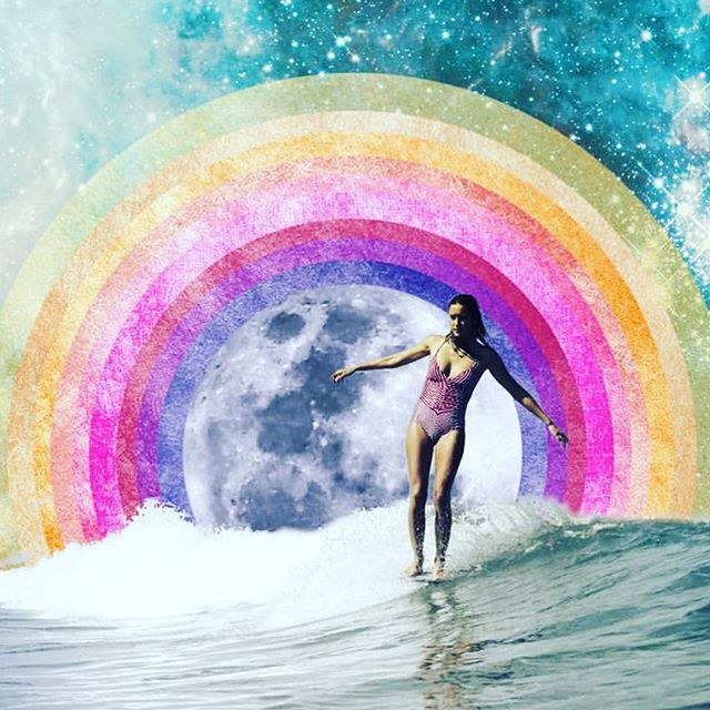 #vibes 💧🌀🌊 Breakthrough in surfing yesterday and ever since had dreams of being in the water, gliding effortlessly across the face of the wise waves. 🧜🏼♀️ Grateful for my feet, for in this lifetime I wanted to surf and hoop dance in sand.  #mermaid #with #feet 👣  Art by @cosmiccollage