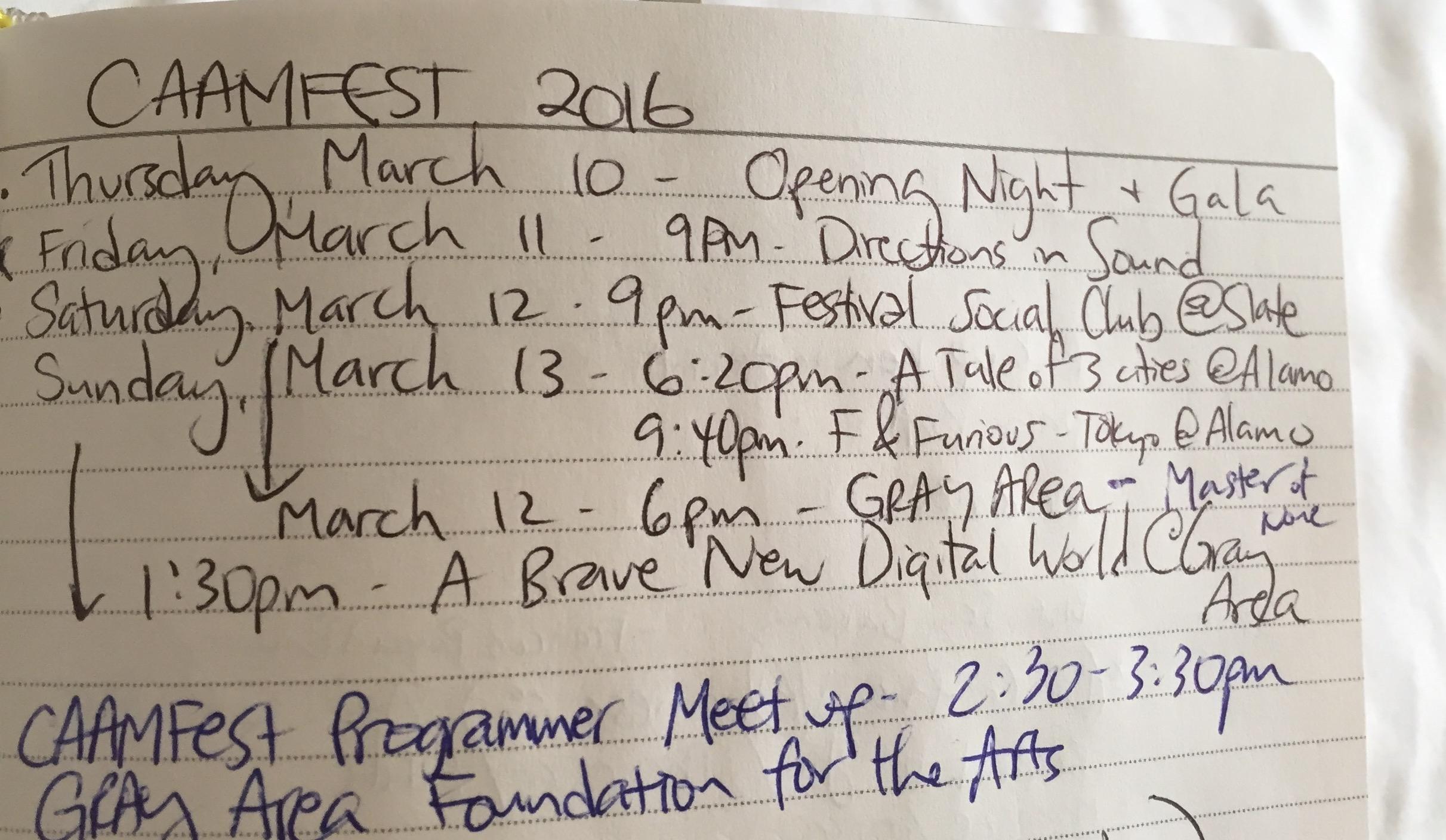 CAAMFest'16 schedule
