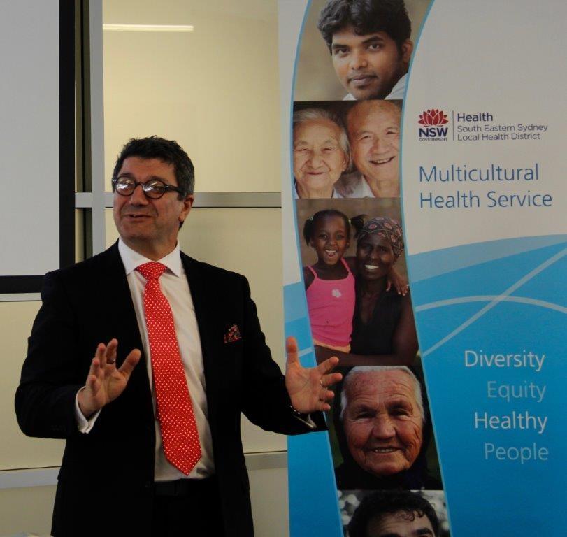 Pino Migliorino speaks at the launch event