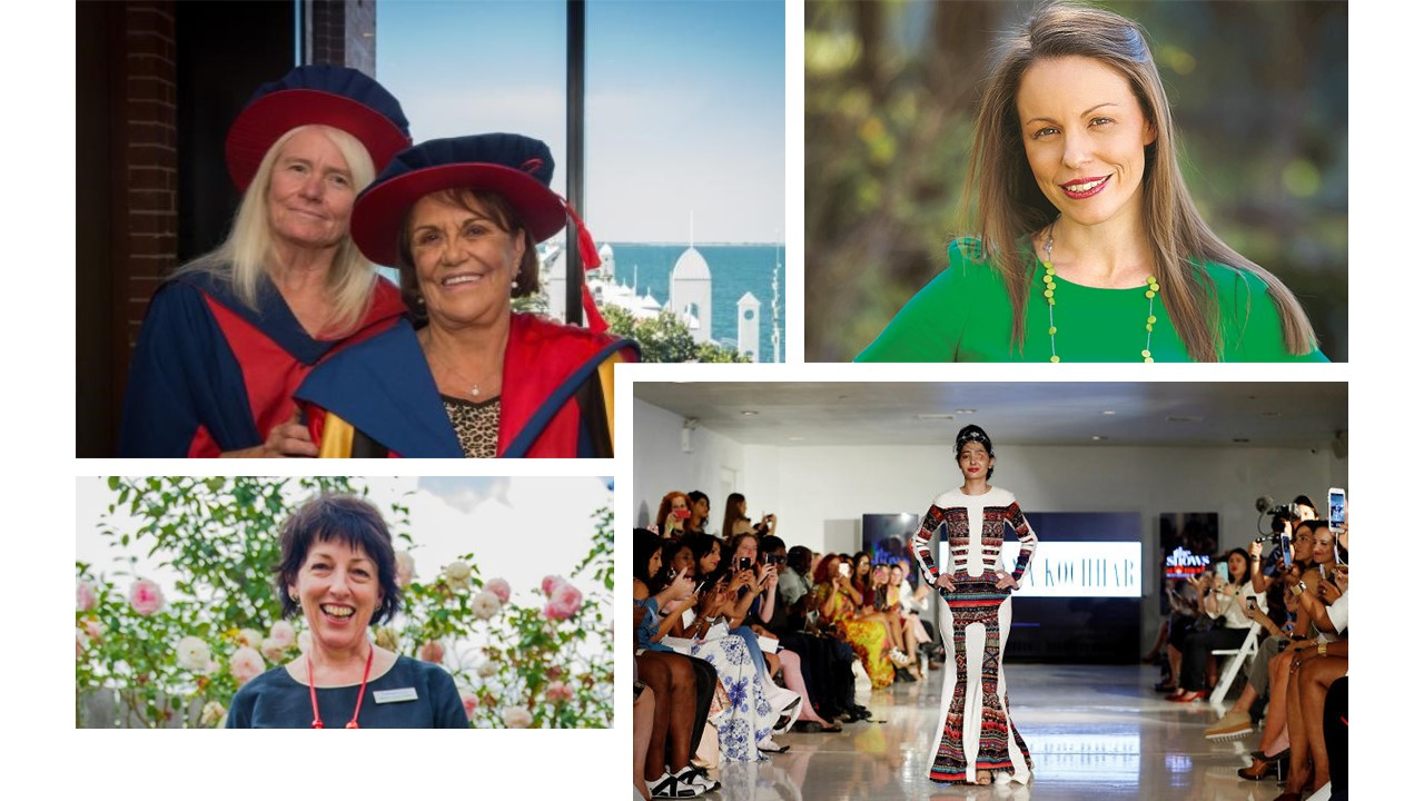 Left top: Shirley Bennell, right, with supervisor Selma Macfarlane; Right top: Ali Cupper, lawyer, child protection practitioner, academic and politician; Left bottom: Marie-Louise Corkhill, ACT Woman of the Year; Right Bottom: Shonali Khatun, Survivors of acid attacks.