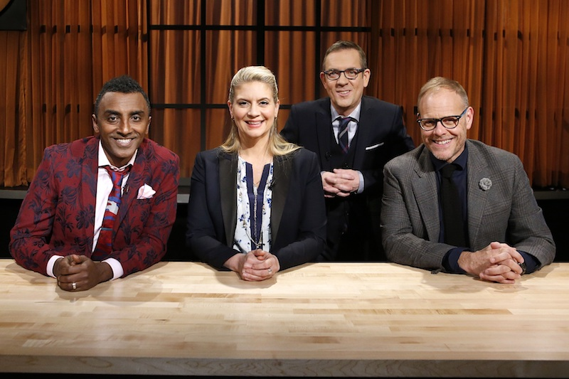 Judges Marcus Samuelsson, Amanda Freitag and Alton Brown pose with host Ted Allen.jpg