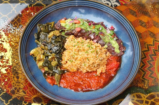 Come through @roosterharlem for this month's @nycfc dish, inspired by @_sebibeagha_ 's love for jollof rice. Hanger steak + Okra + Jollof rice = deliciousness.  #nycfc #redrooster #harlem