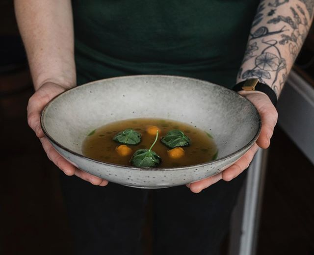 The most thoughtful dining experience @forestpopups with food foraged from around the city and community gardens. This is @plabitaflorence holding nasturtium dumplings on Thursday for the start of the dinner pop ups.