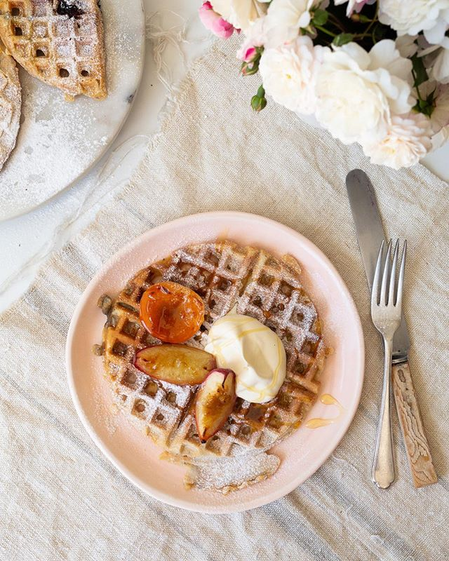 Perfect little breakfast combo. Waffles & coffee, rainy morning in June. Pic for @wild_delicious