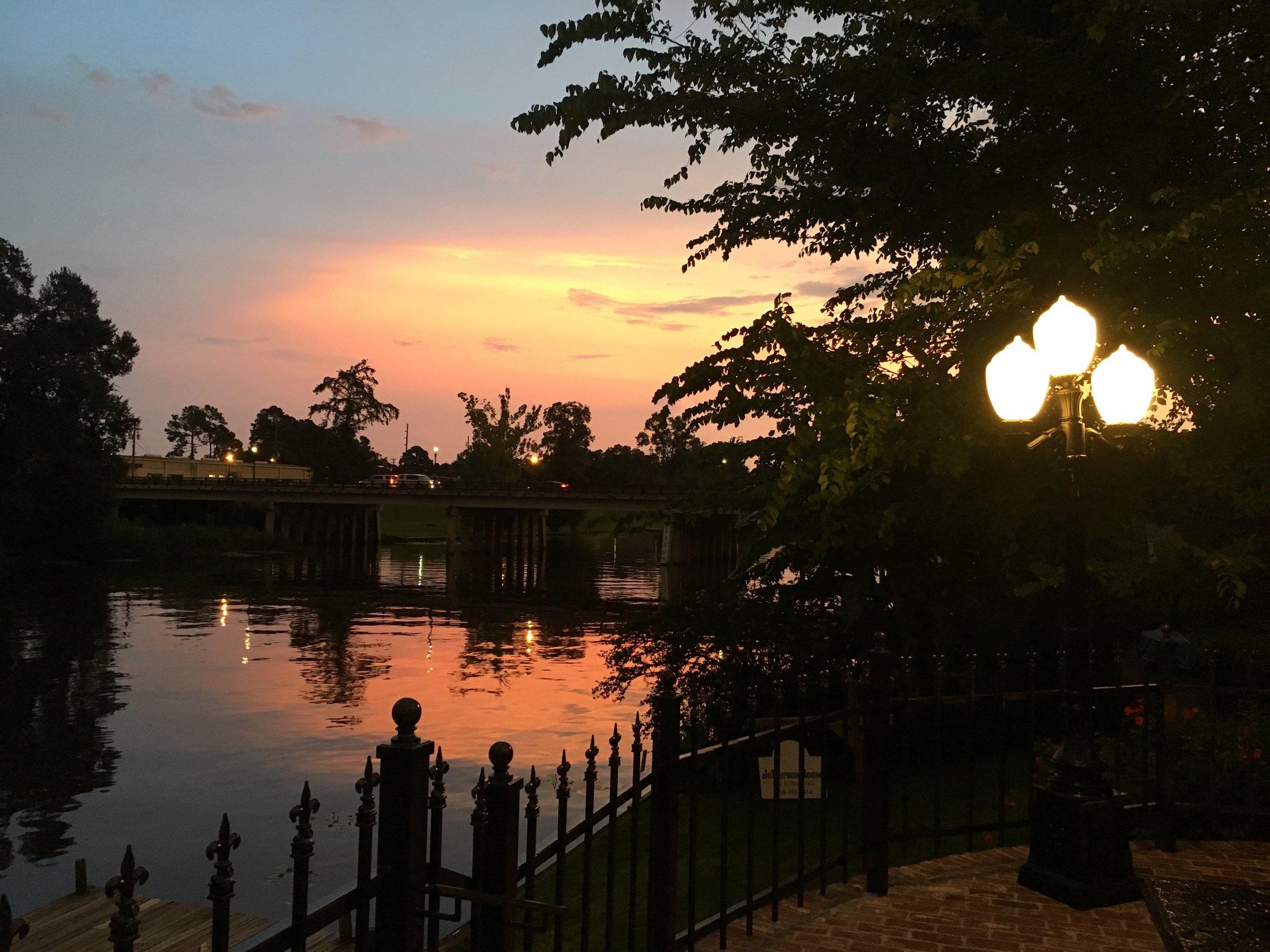 Sunset from the Riverfront Terrace