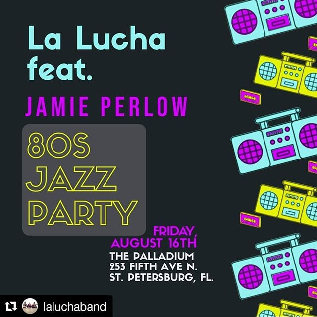 "🎉@laluchaband is having a party...an 80's Jazz Party! 🎵 Come join us and the totally rad @jamieperlow @mypalladium on 《Friday, August 16th》 to hear ""La-Lucha-fied"" versions of some of our favorite 1980's classics. 《Jheri curls, mullets, neon and leg warmers are all welcome. Dress to impress! 🕺》 Tix available at mypalladium.org"